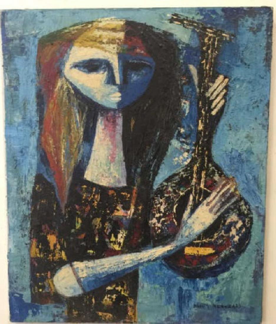 Mid Century Modern Painting of Musician N Ben-Zari
