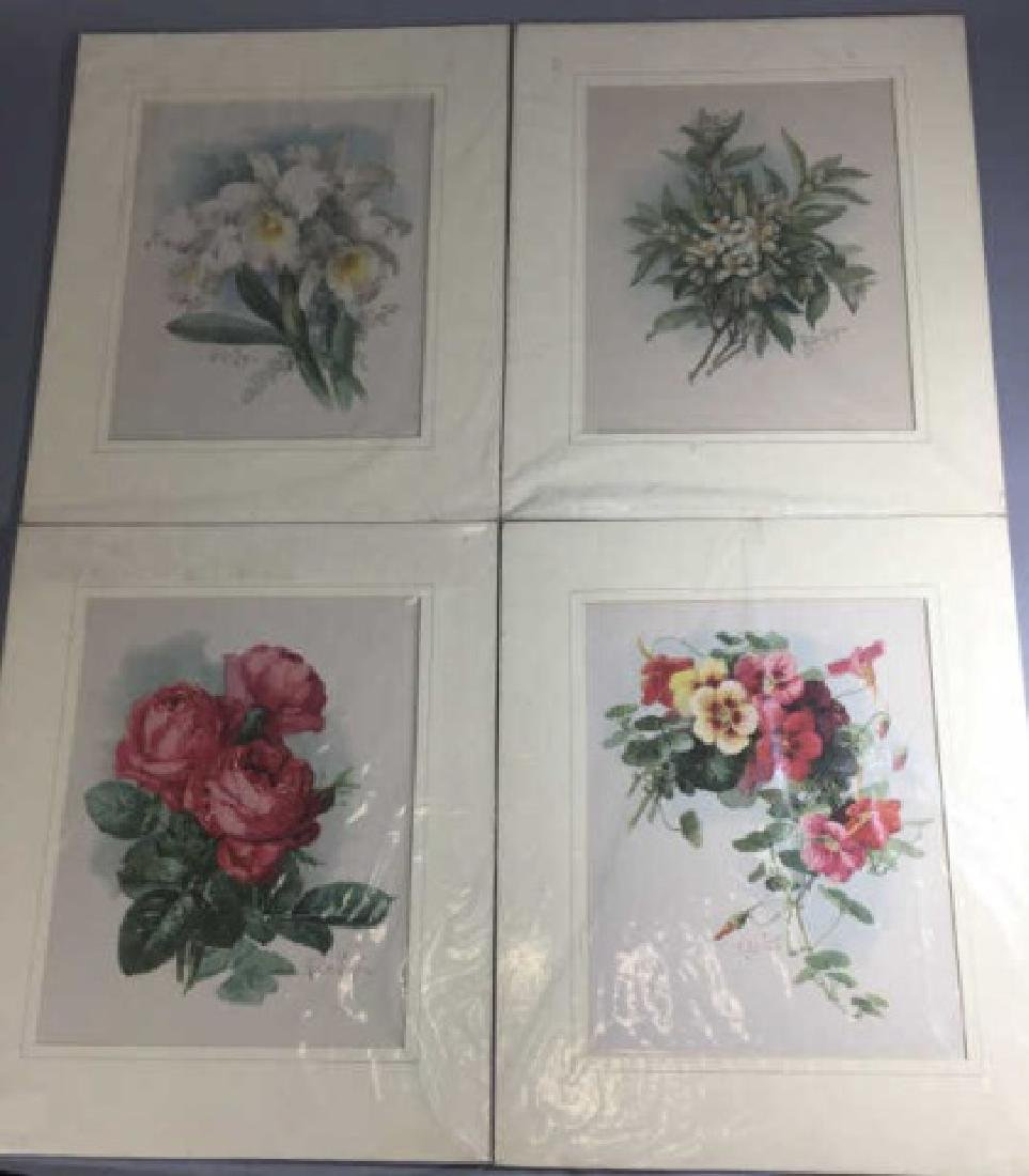 4 19C Botanical Chromolithographs Paul de Longpre