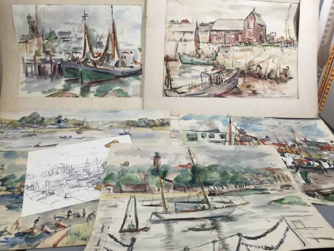 Group of Sailboat Watercolors Grace Huntley Pugh