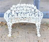 Cast Iron White Victorian Garden Bench or Settee