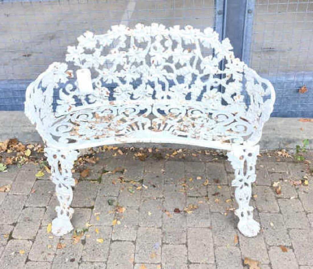 Cast Iron White Victorian Garden Bench or Settee