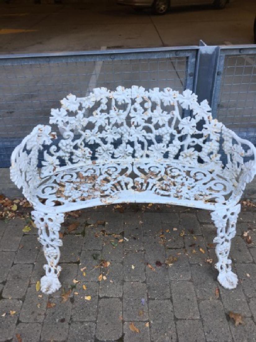 Cast Iron White Victorian Garden Bench or Settee - 4