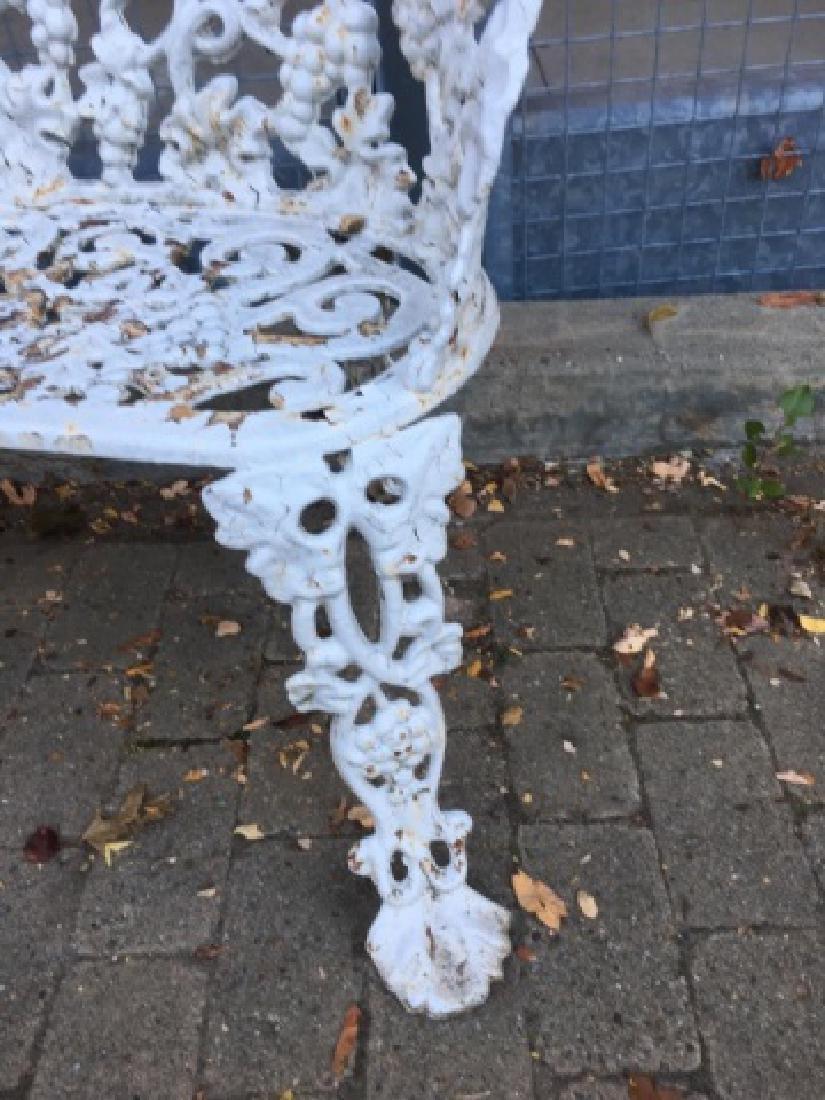Cast Iron White Victorian Garden Bench or Settee - 6
