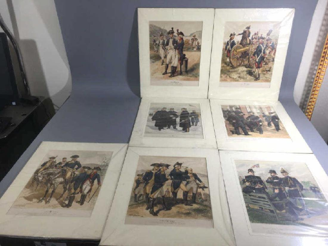 7 Antique Color Lithographs of Military Uniforms