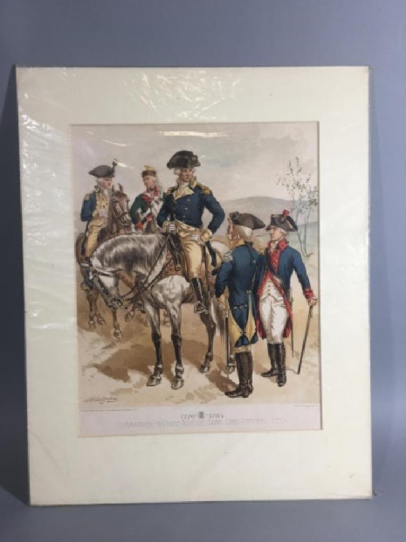 7 Antique Color Lithographs of Military Uniforms - 3