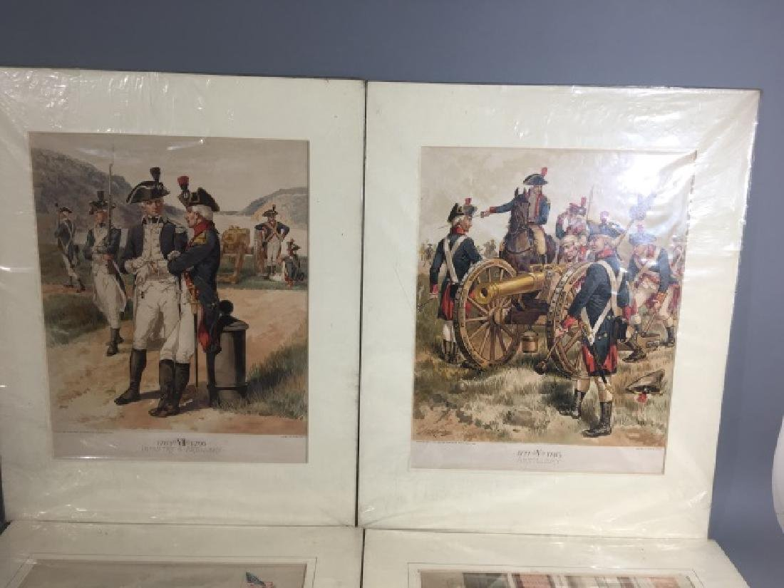 7 Antique Color Lithographs of Military Uniforms - 4