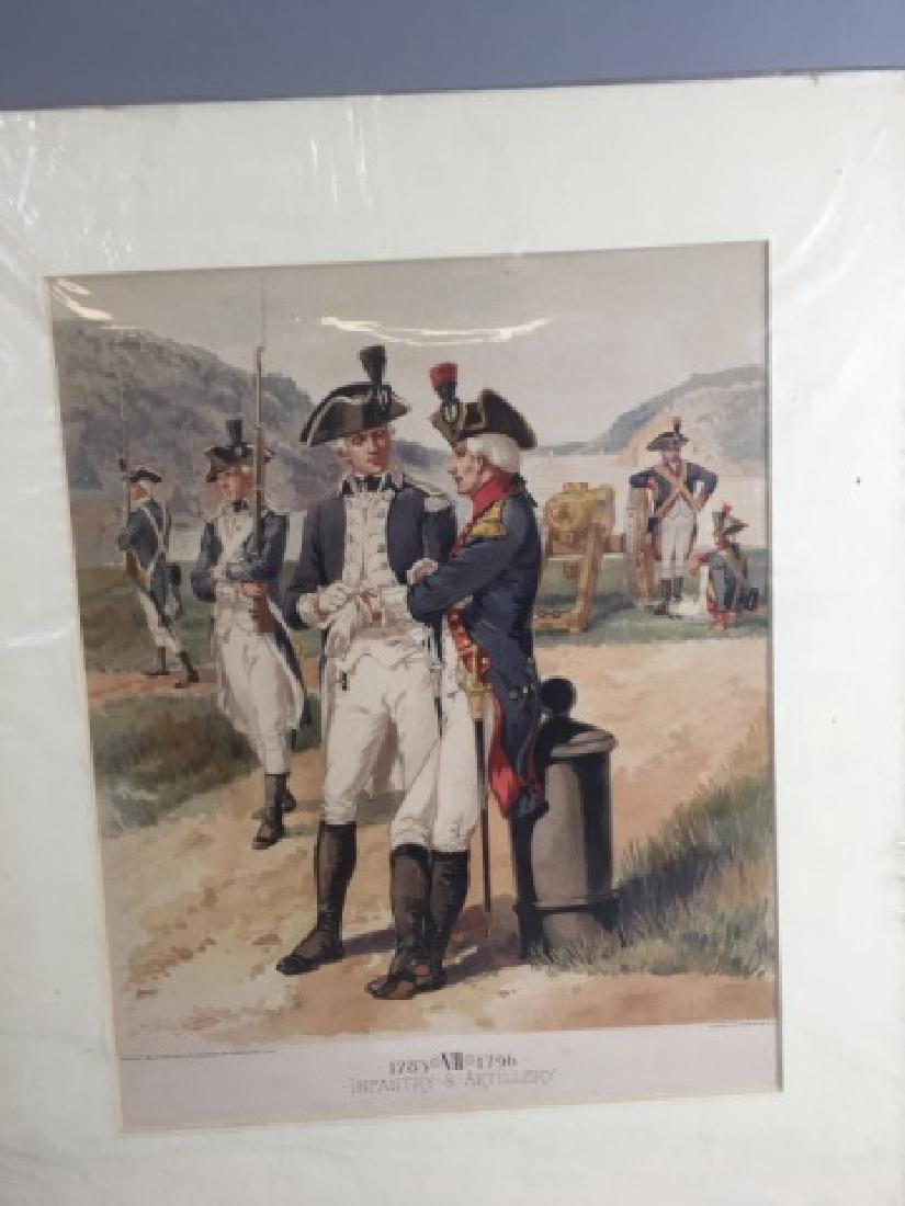 7 Antique Color Lithographs of Military Uniforms - 5