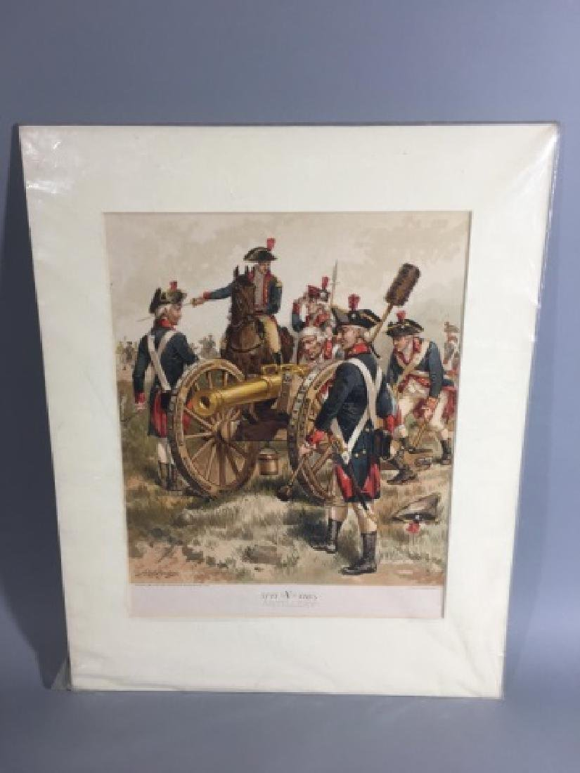 7 Antique Color Lithographs of Military Uniforms - 6