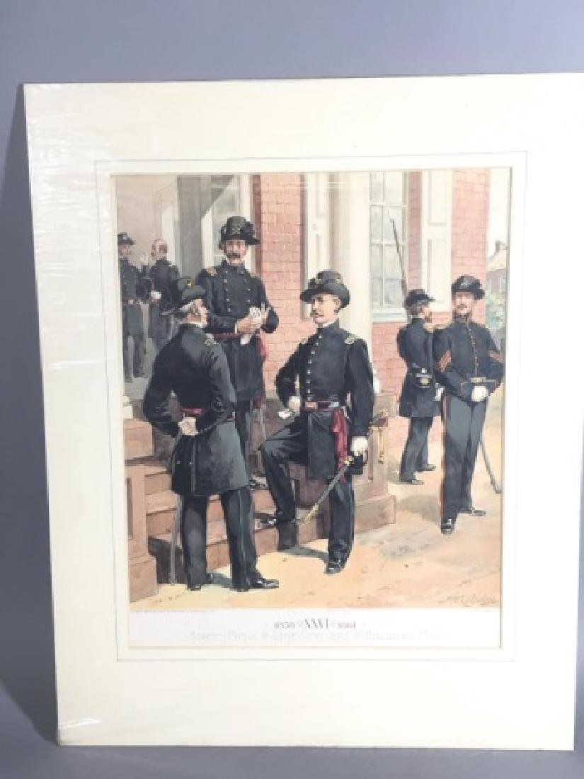 7 Antique Color Lithographs of Military Uniforms - 7