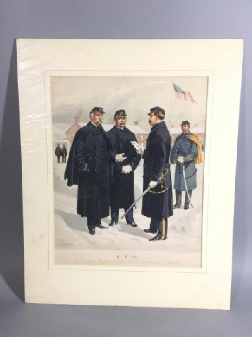 7 Antique Color Lithographs of Military Uniforms - 8