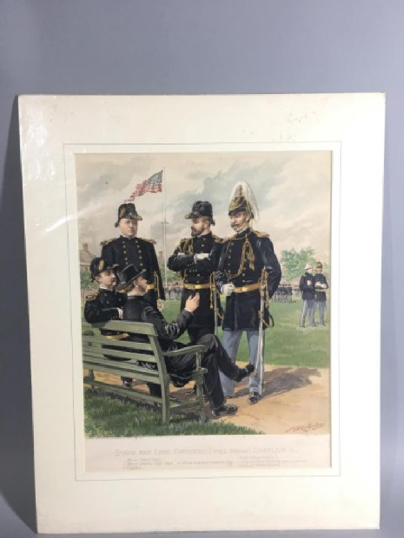 7 Antique Color Lithographs of Military Uniforms - 9