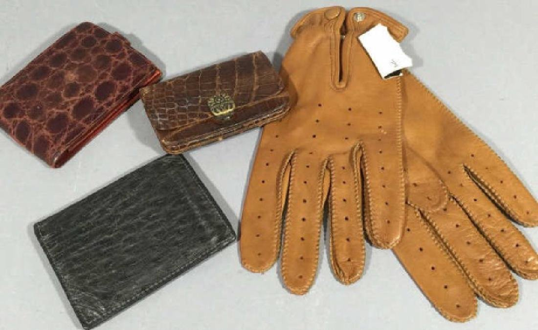 Group Vintage Leather Personal Items Wallet Gloves