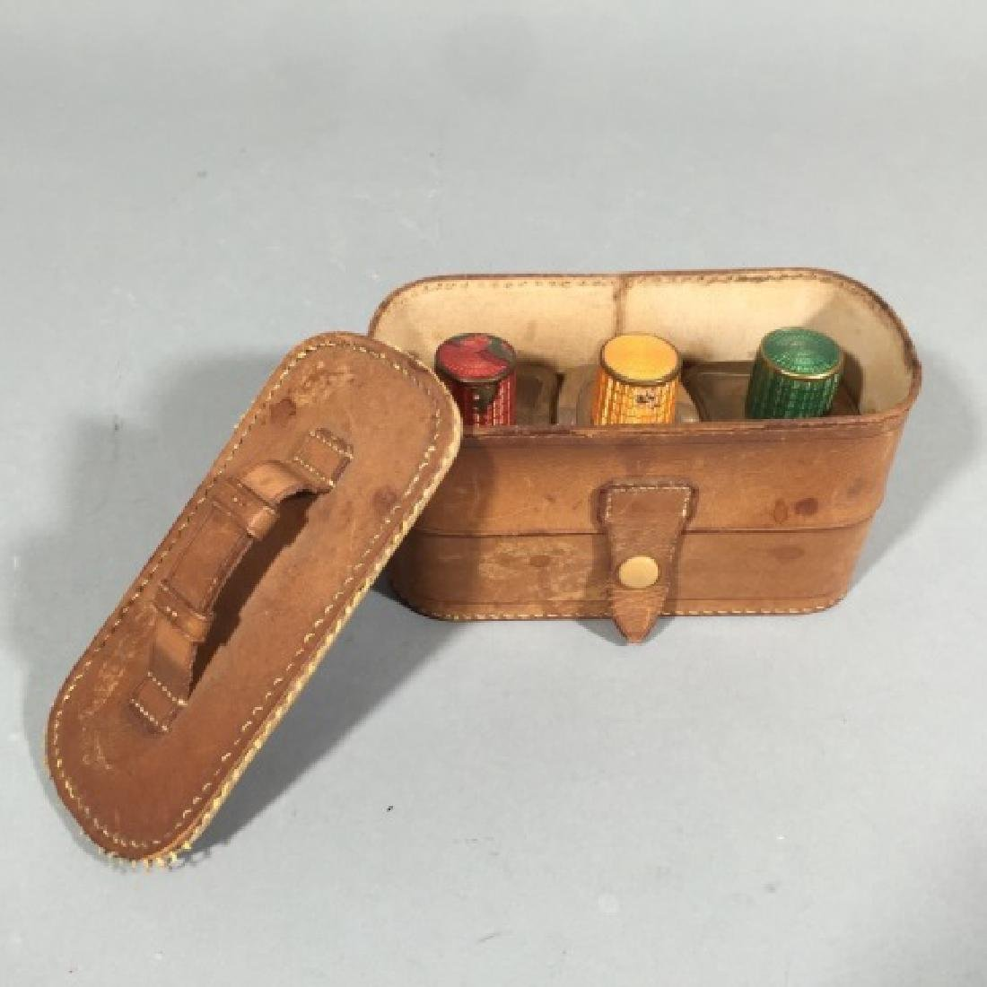 Vintg Leather Box w 3 Fitted Glass Perfume Bottles