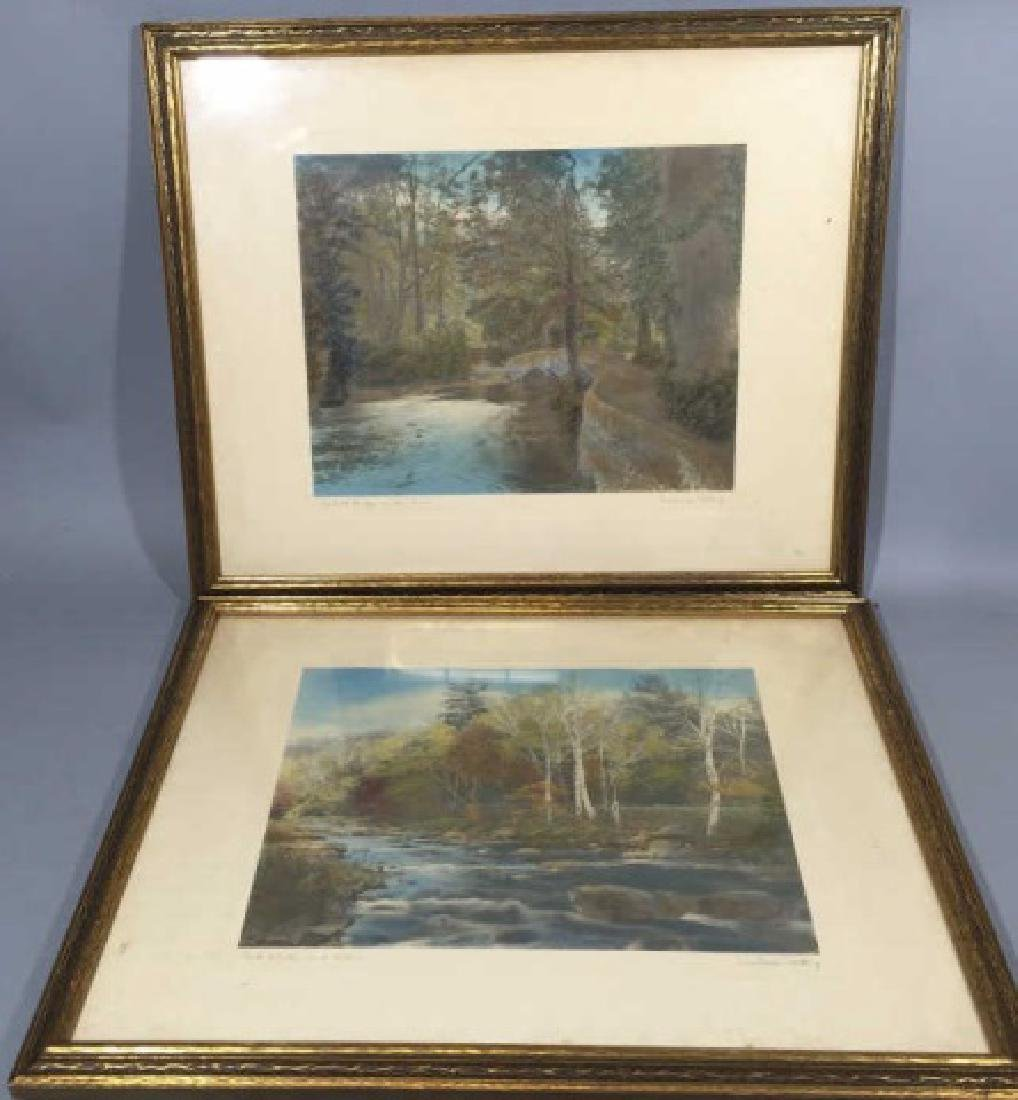 Pair Wallace Nutting Hand-Colored Photos c.1920