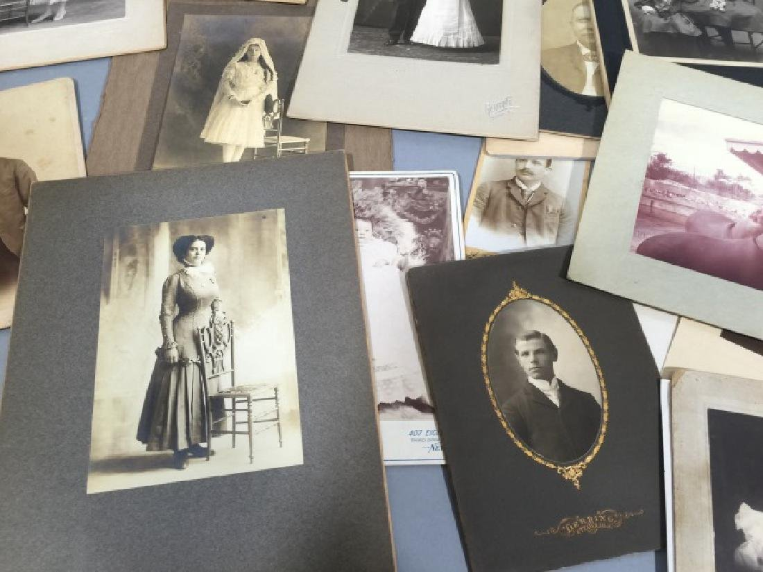 Group Antique Photographic CDV Portraits c. 1900 - 4