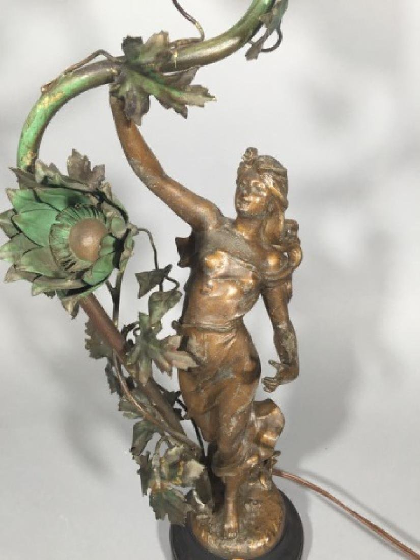 Antique Lamp w Cast Painted Statue of Spring - 3