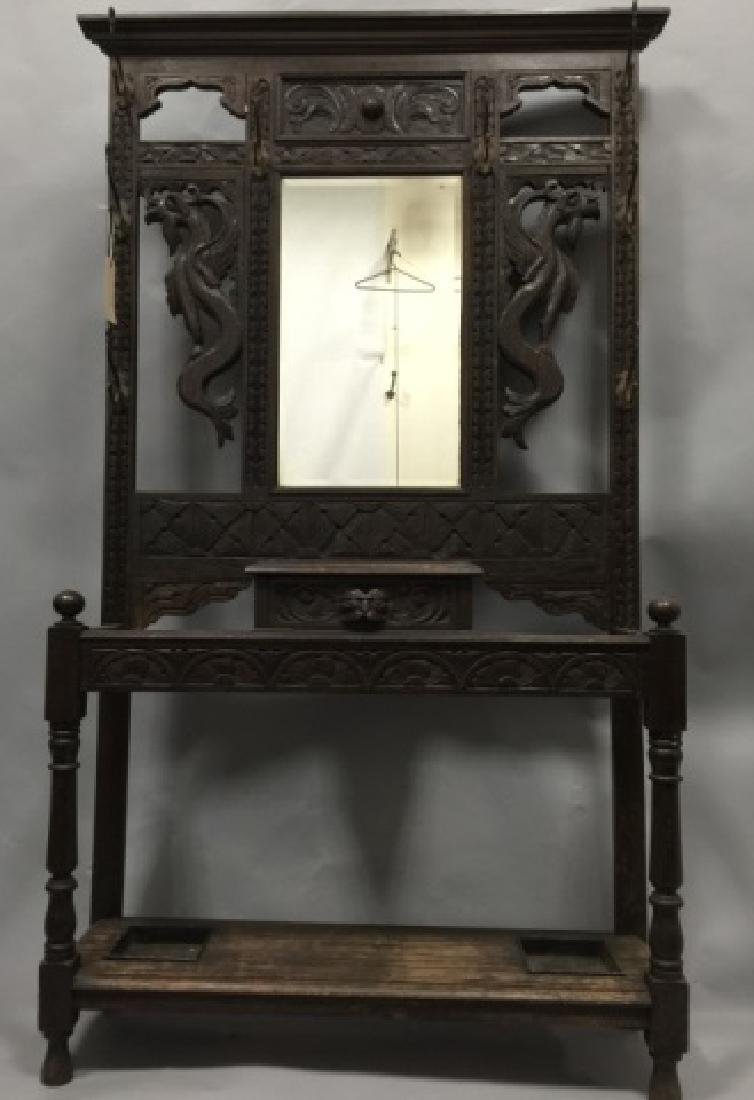 Antique Victorian Hall Stand in RJ Horner Style