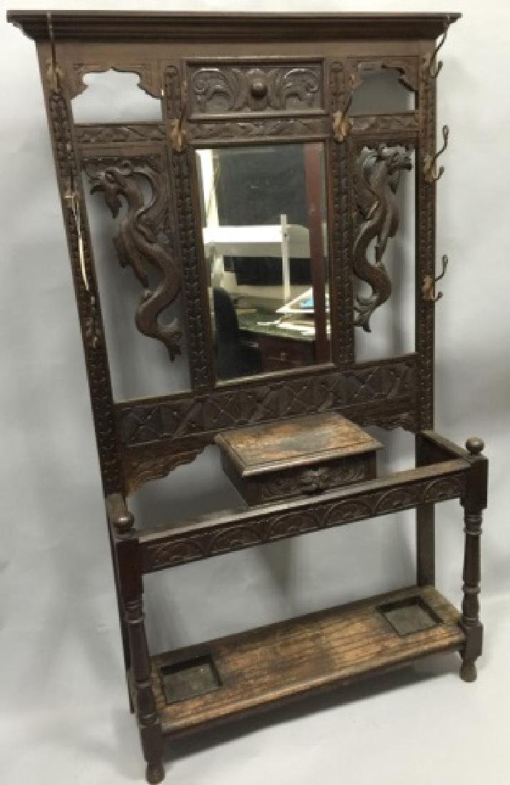 Antique Victorian Hall Stand in RJ Horner Style - 2