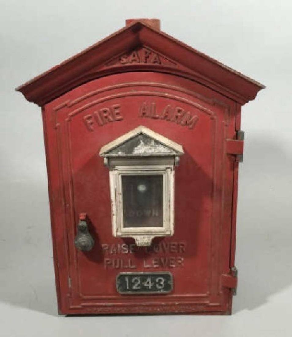 Antique Cast Iron Red Fire Call Box w Telegraph