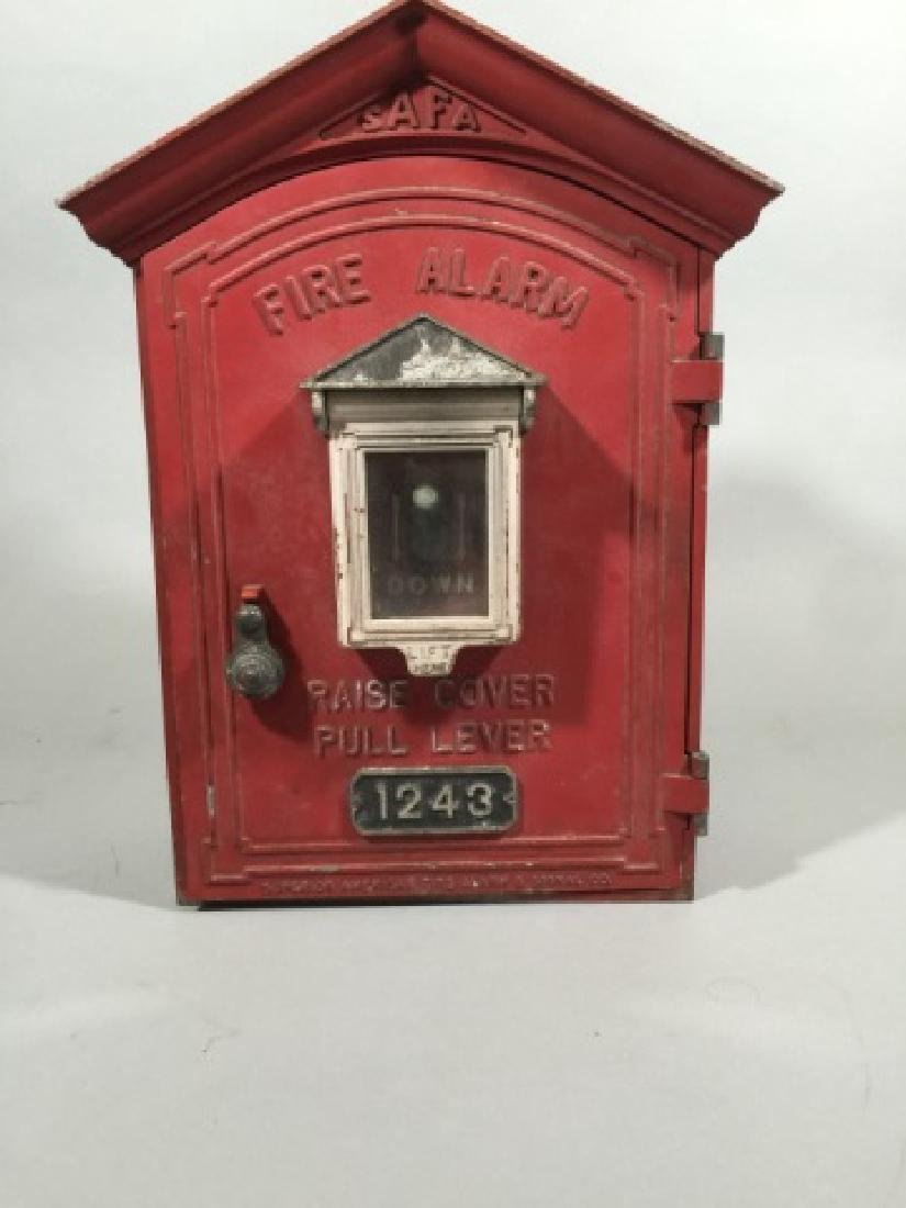 Antique Cast Iron Red Fire Call Box w Telegraph - 3