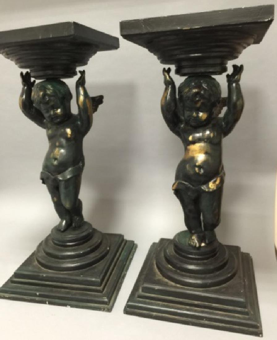 Pair Painted Wood Cherub / Putti Column Pedestals