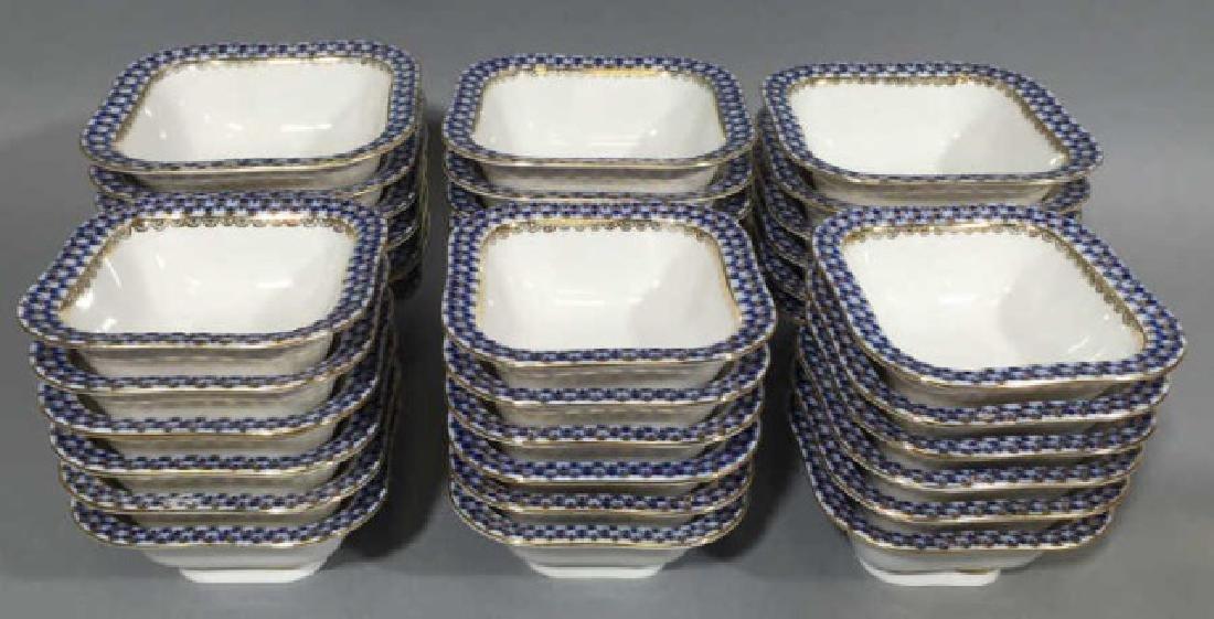 36 Lomanosov Russian Porcelain Blue & Gold Bowls