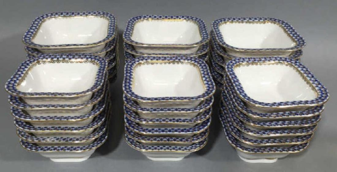 36 Lomanosov Russian Porcelain Blue & Gold Bowls