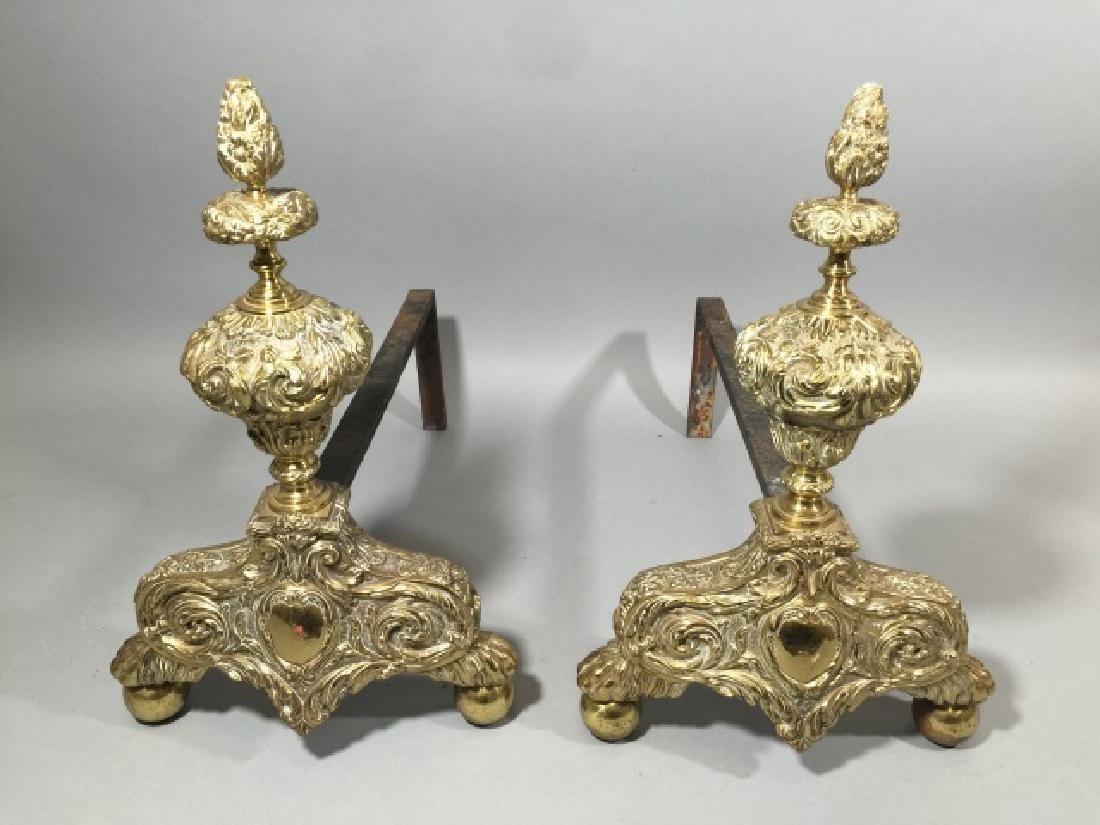 Pair of Ornate Brass Andirons