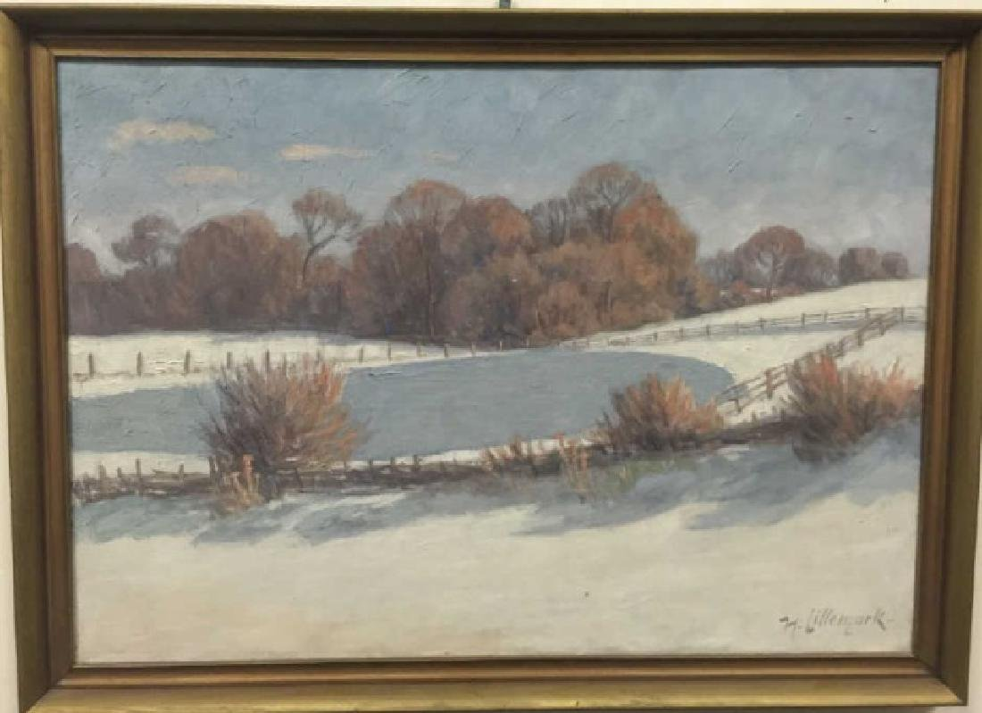 Lillemark Signed Winter Scene Oil Painting