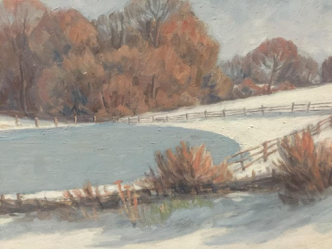 Lillemark Signed Winter Scene Oil Painting - 3
