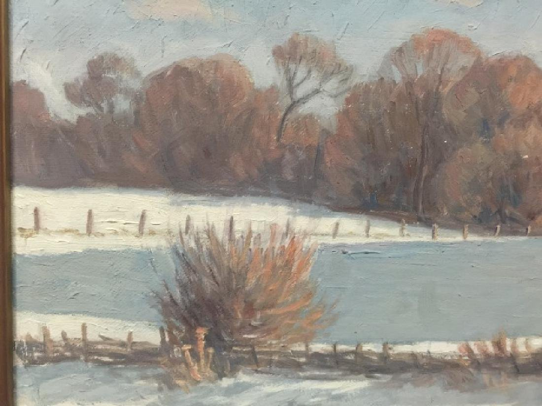 Lillemark Signed Winter Scene Oil Painting - 4