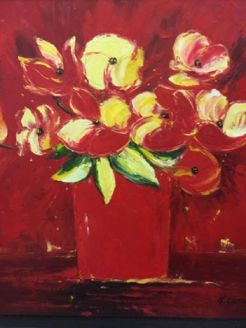 H. Carson Signed & Framed Red Floral Painting - 2