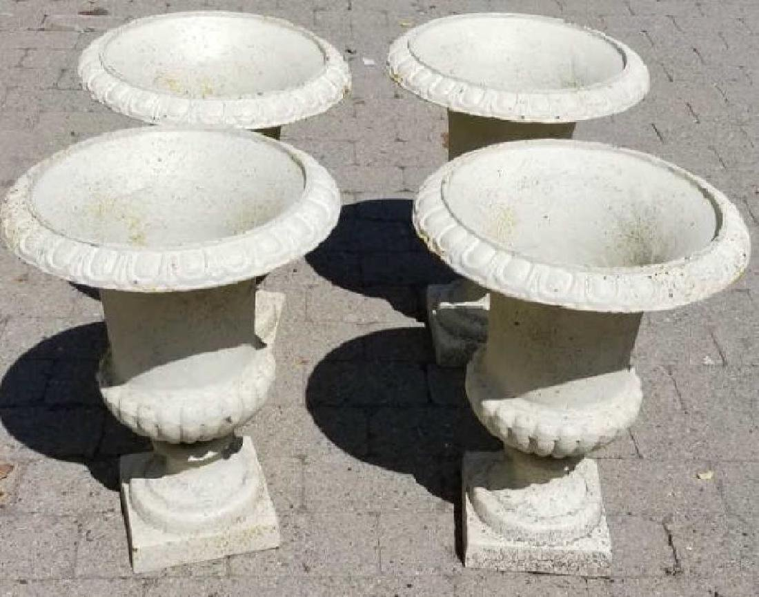 4 Small White Cast Iron Neoclassical Urns