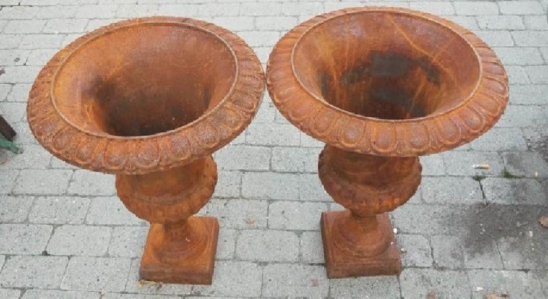Pair Medium Cast Iron Neoclassical Urns
