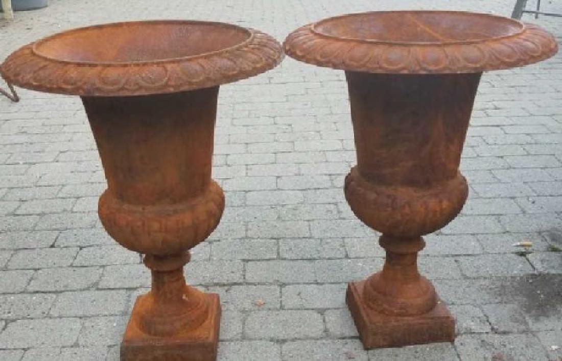 Pair Medium Cast Iron Neoclassical Urns - 3