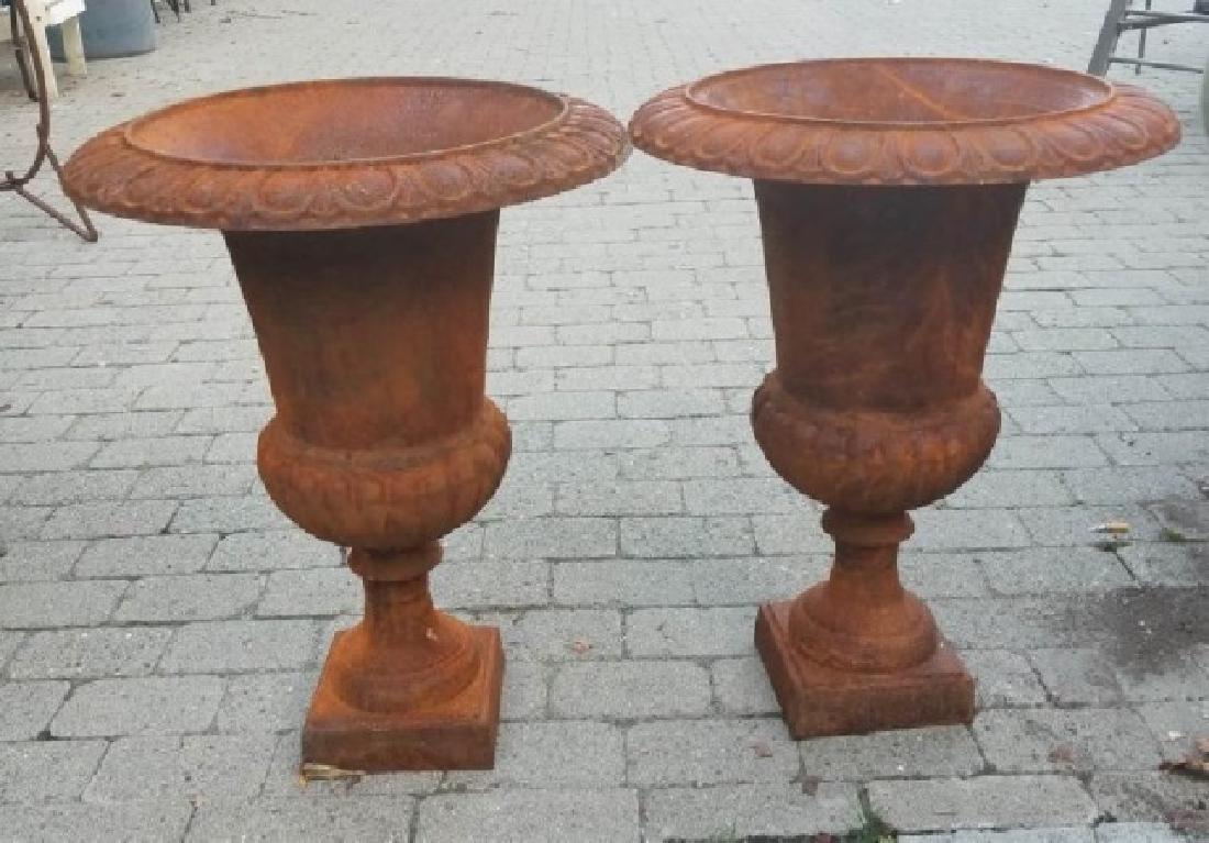 Pair Medium Cast Iron Neoclassical Urns - 2