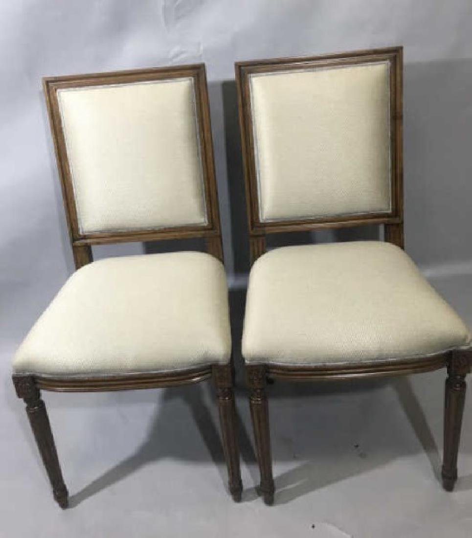 Pair French Louis XVI Style Upholstered Chairs