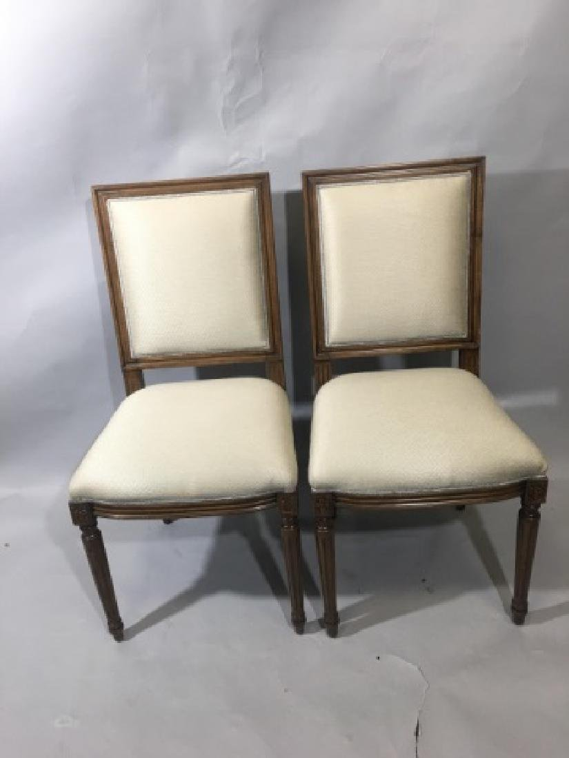 Pair French Louis XVI Style Upholstered Chairs - 6
