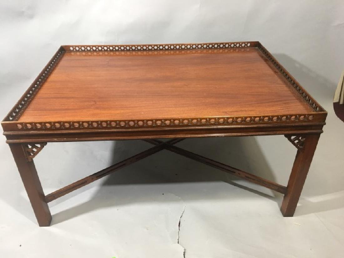 Square Wood Carved Mahogany Coffee Table
