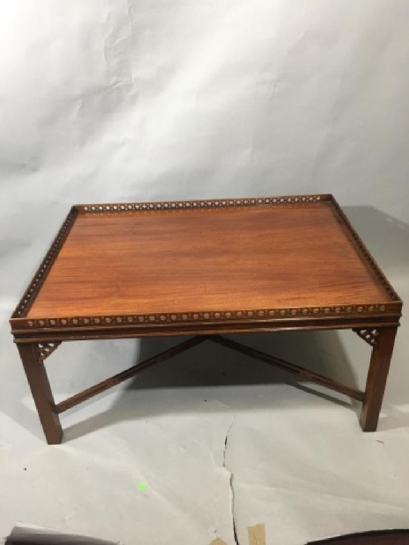 Square Wood Carved Mahogany Coffee Table - 5