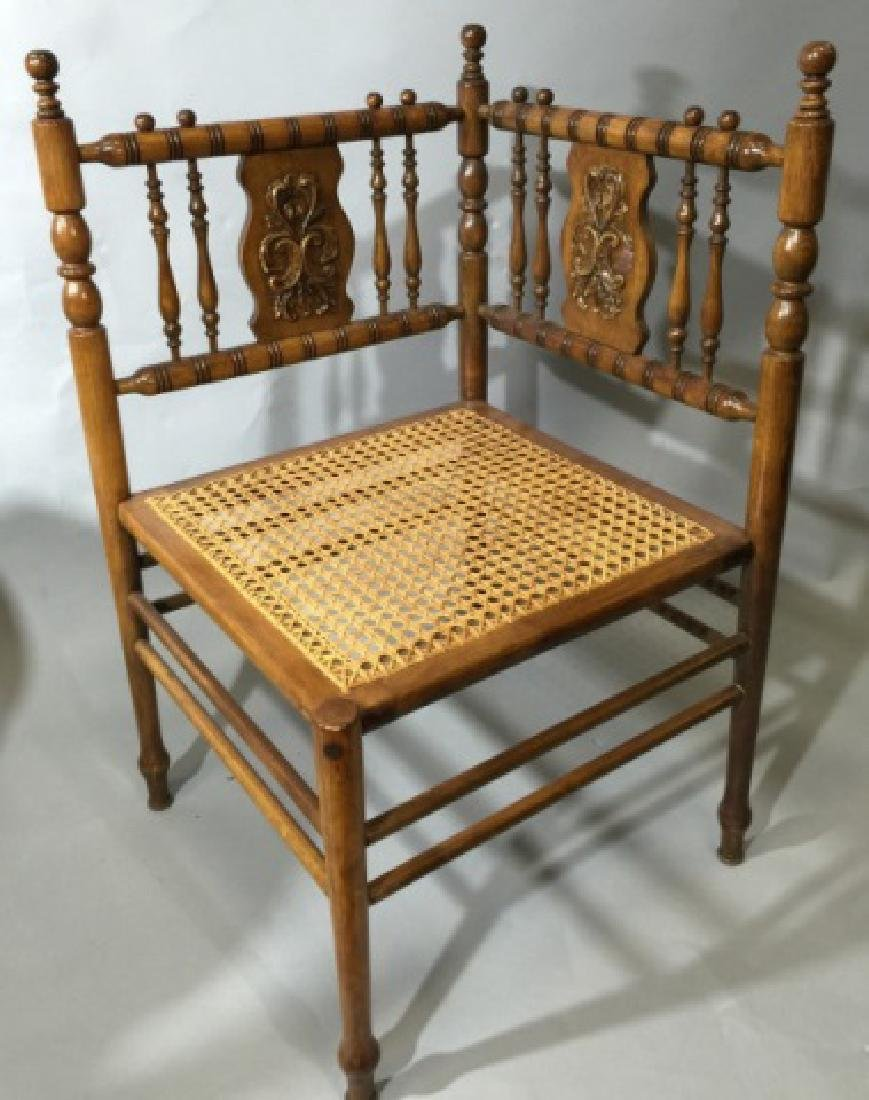 Victorian Fretwork Caned Corner Chair