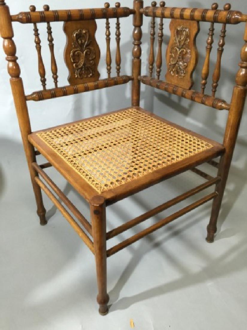 Victorian Fretwork Caned Corner Chair - 2