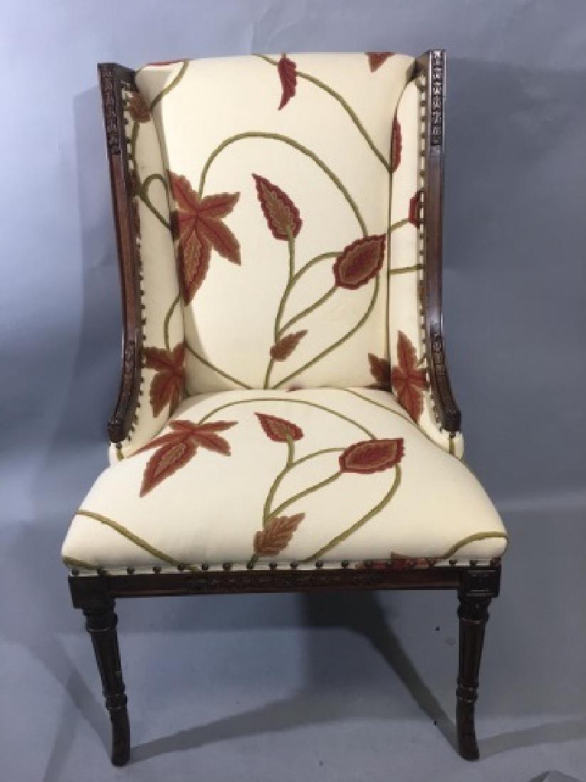 Elegant Henredon Lasker Arm Chair w Crewel Fabric