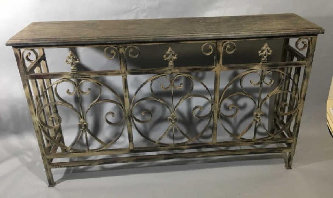 Contemporary Wood & Iron Console Buffet Server