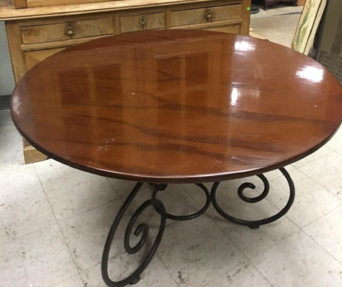 Contemporary Iron & Polished Wood Dining Table