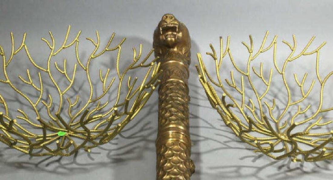 Pair of Golden Wire Woven Bowls w Golden Lioness