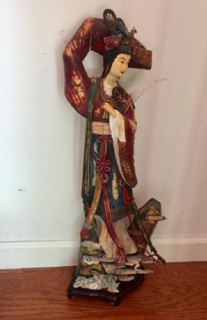 Large Elegant Carving of Chinese Lady in Clouds
