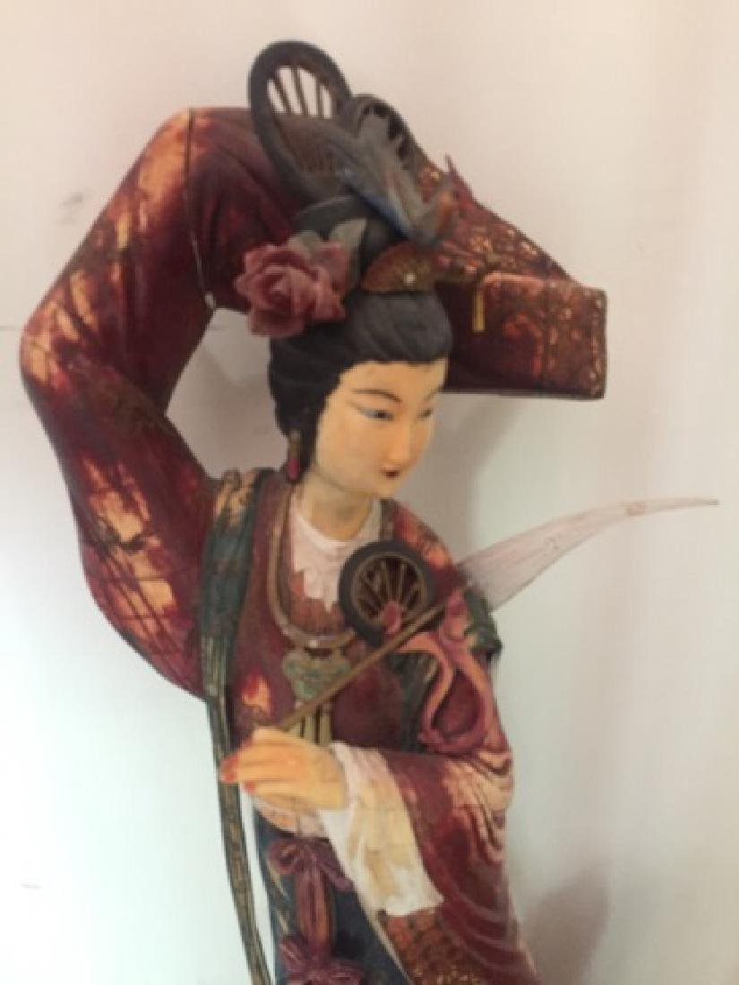 Large Elegant Carving of Chinese Lady in Clouds - 2