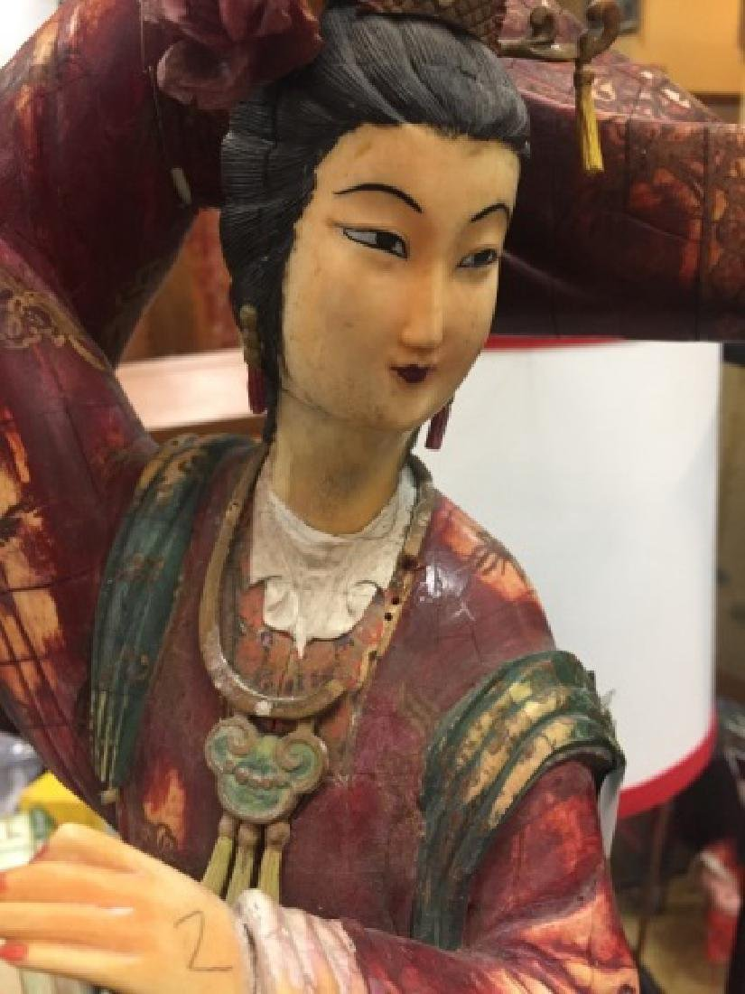 Large Elegant Carving of Chinese Lady in Clouds - 3