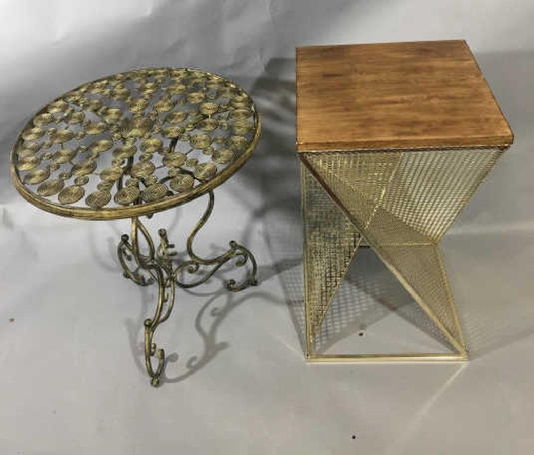 2 Contemporary Metal Bedside Tables Round & Square